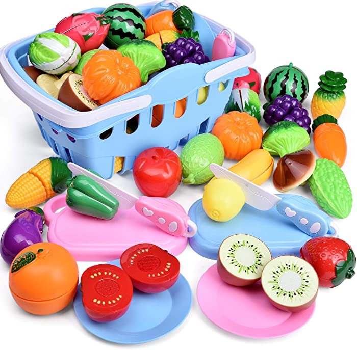 Funlittletoys 53 PCs Play Food for Kids Kitchen, Play Kitchen Accessories, Pretend Cutting Food Toys with Shopping Basket for Kids Birthday Gifts, Pretend Play