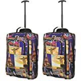 """Set of 2 21""""/55cm 5 Cities Cabin Approved Hand Luggage Lightweight Trolley Bags for Ryanair/Easyjet Print (NIGHT CITIES)"""
