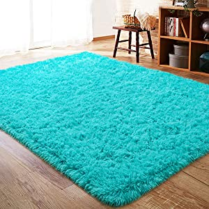 ISEAU Fluffy Rug Carpets Soft Shaggy Area Rug Indoor Floor Rugs for Kids Room Fuzzy Carpet Comfy Cute Nursery Rug Bedside Rug for Boys Girls Bedroom Living Room Home Decor Mat, 3ft x 5ft, Teal Blue