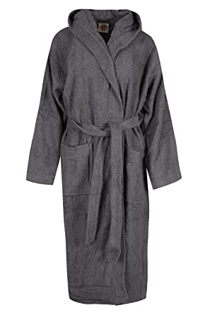 Unisex 100% Egyptian Cotton Bathrobe Terry Towelling Hooded Dressing Gown (  Grey)  Amazon.co.uk  Clothing 3ad33e2cd
