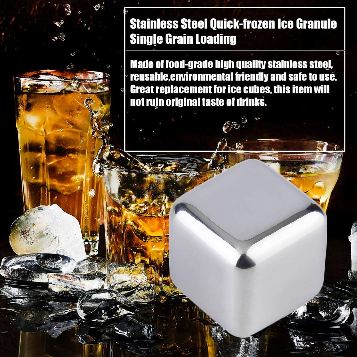 Tree-on-Life 1 Unids Reutilizable 304 2.5cm 2.5cm Piedras de Enfriador de Whisky de Acero Inoxidable Cubitos de Hielo Enfriadores Beber Herramientas de enfriamiento f/ísico 2.5cm