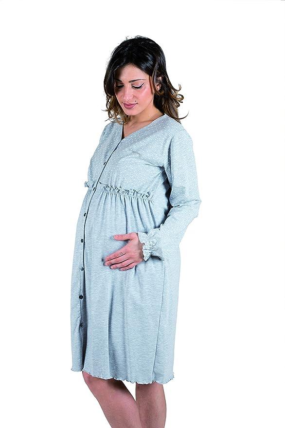 Premamy - Premamá Camisón De Embarazo Y Lactancia Hospital Para Mujer De Algodón Manga Larga: Amazon.es: Ropa y accesorios