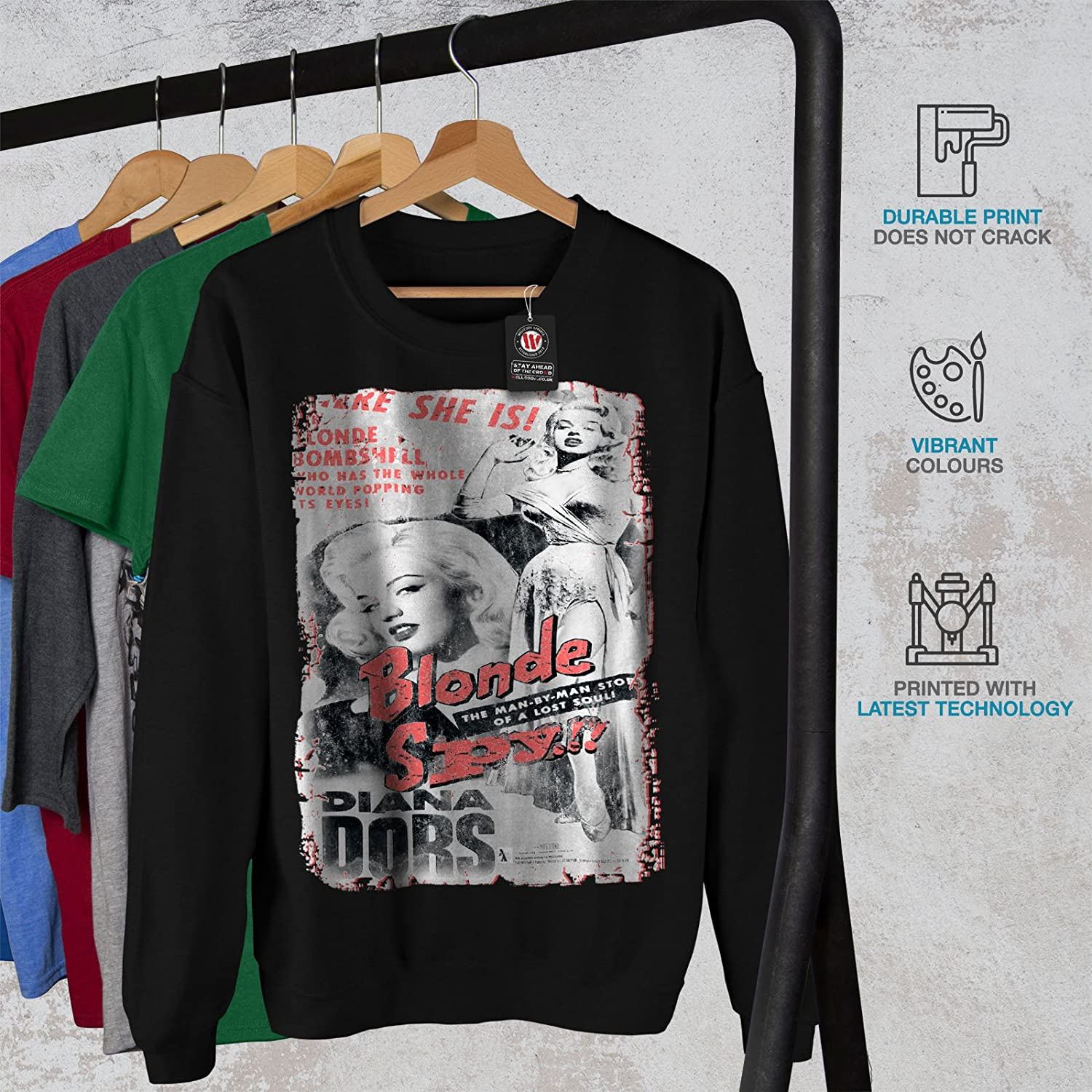 wellcoda Blonde Spy Girl Mens Sweatshirt Bombshell Casual Jumper