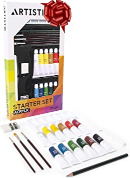 Acrylic Paint Set 20 Piece Starter Set For Beginners Students And Artists Ideal For Canvas Painting 12 Tubes X Acrylic Paints In Vivid Colors 3