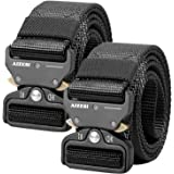 """AIZESI Men Tactical Military Nylon Riggers Belt Stab Lock Style Heavy Buckle Belt Work Outdoor Hiking Skiing Cycling,Adjustable Pants Size Below 47"""",49"""""""