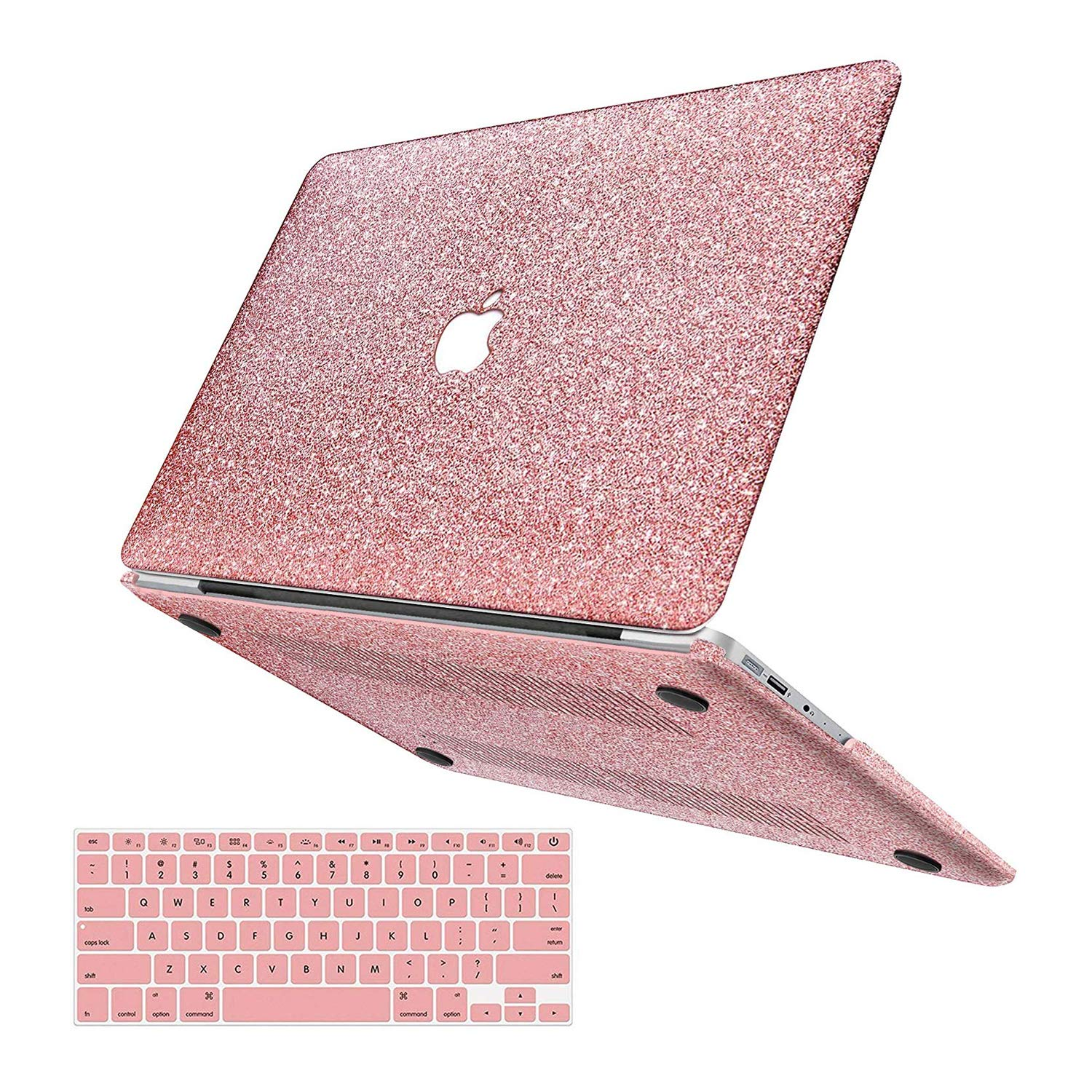 "MacBook Air 13 inch Case,Anban Glitter Bling Smooth Protective Laptop Shell Slim Snap On Case with Keyboard Cover Compatible Mac Air 13"" (A1369 & A1466,Older Ver 2010-2017 Release),Shining Rose Gold"
