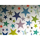 2 SHEETS OF STAR WRAPPING PAPER - GIFT WRAP WITH BLUE BACKGROUND