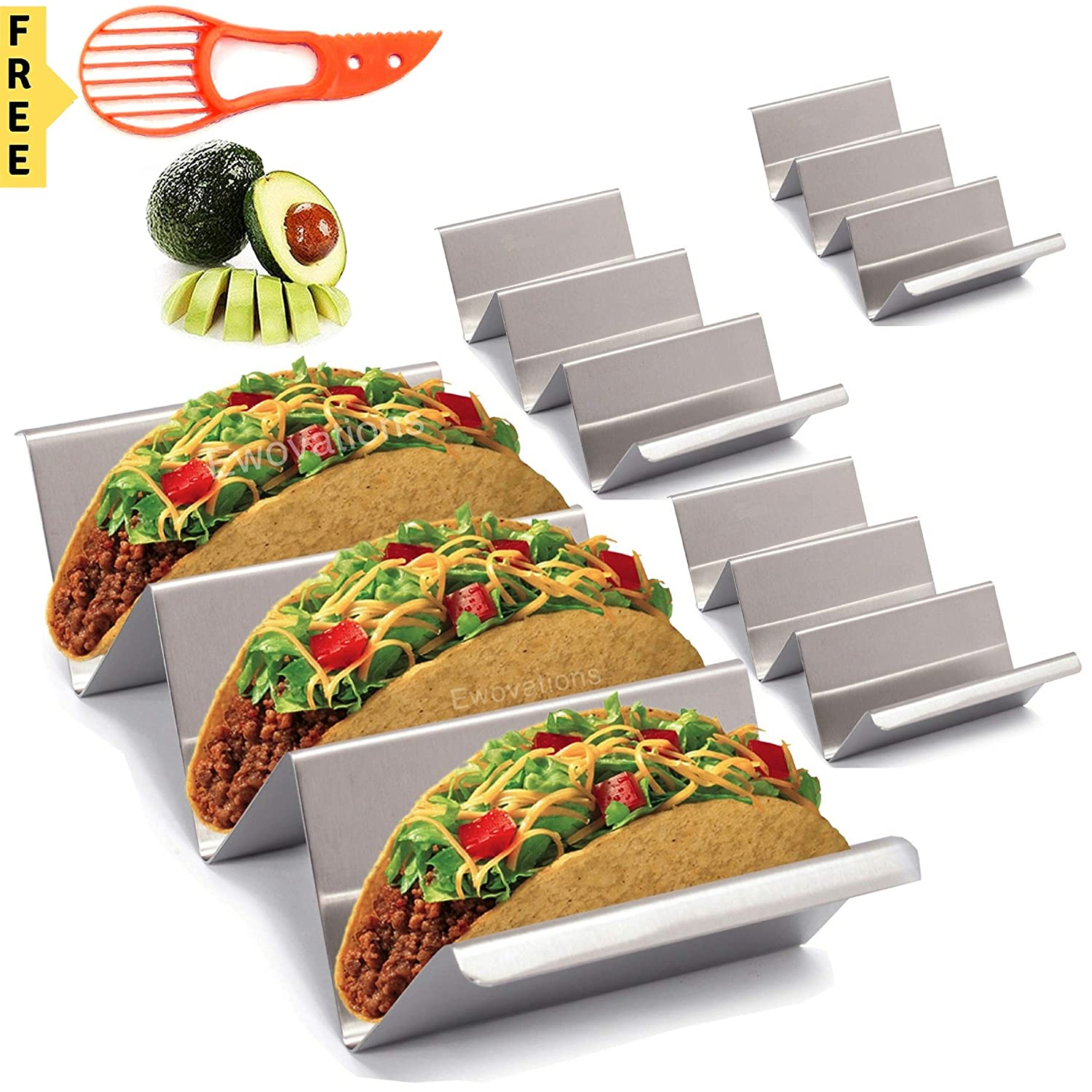 Taco Holder. 4 Pack Stainless Steel Taco Tray Stand with Handle. Taco Rack that is Safe for Oven Baking, Grill and Dishwasher. Taco Trays by Ewovations