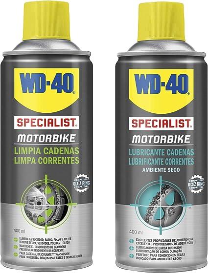 WD-40 Specialist Motorbike - Lote para cuidado y mantenimiento de cadena moto con Spray Limpiacadenas 400Ml + Lubricante de Cadenas 400Ml - Pack 2 unidades: Amazon.es: Coche y moto