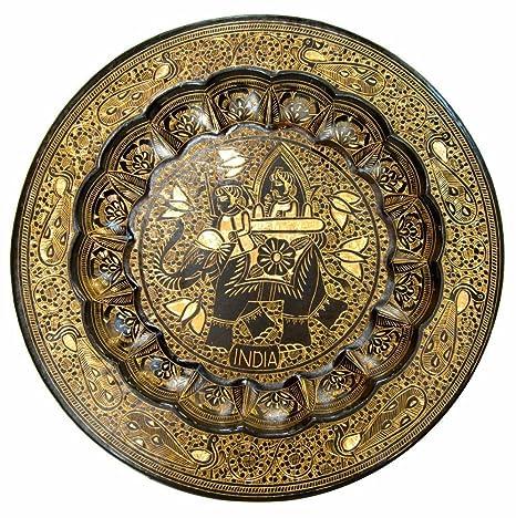 Buy Hand Crafted Metal Brass Wall Plate With Nakkash Bidri Work Wall