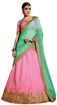 7bd8e6fbb6 Image Unavailable. Image not available for. Colour: Melluha pink soft net  Lehenga with soft net light green color Dupatta