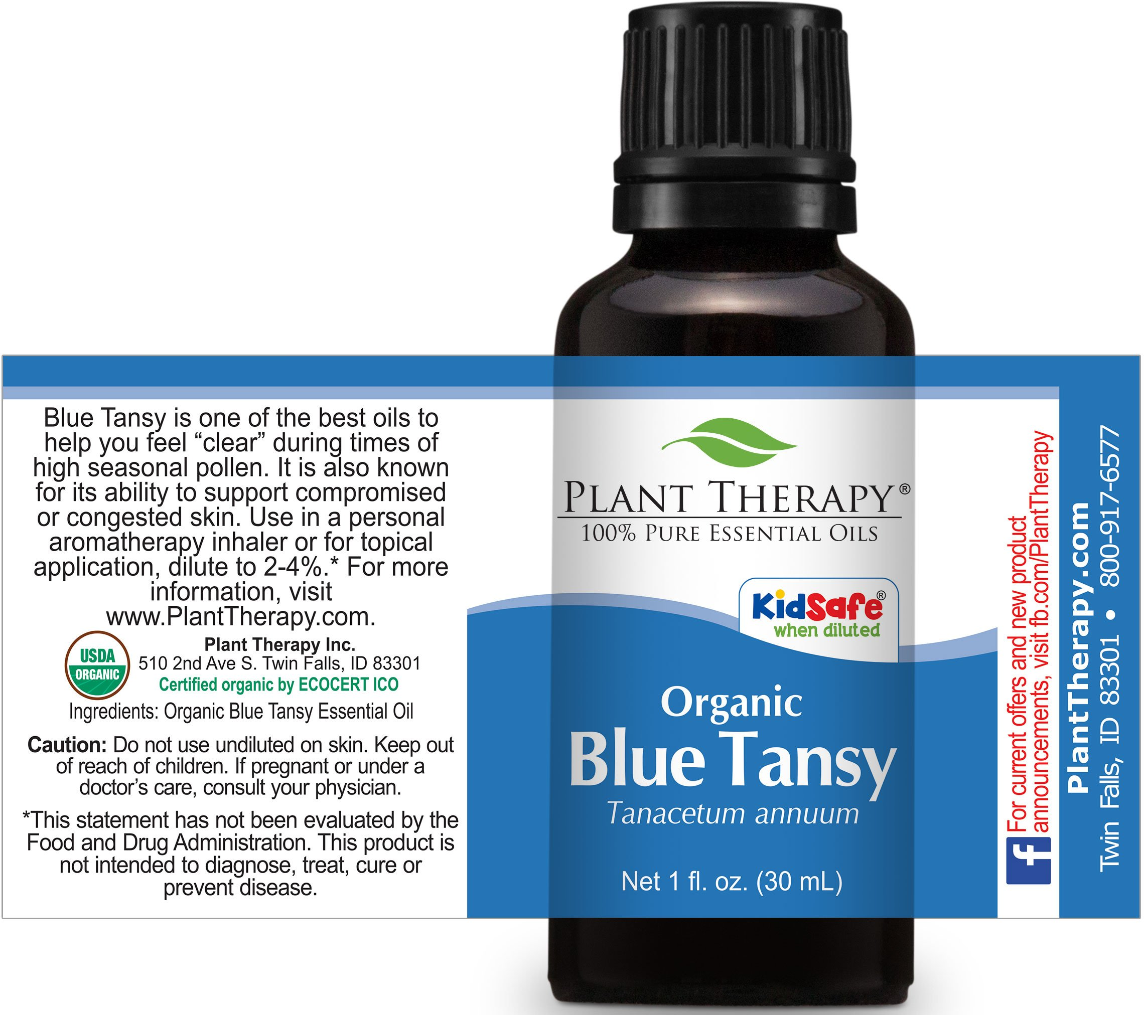 Plant Therapy USDA Certified Organic Blue Tansy Essential Oil. 100% Pure, Undiluted, Therapeutic Grade. 30 ml (1 oz). by Plant Therapy (Image #2)