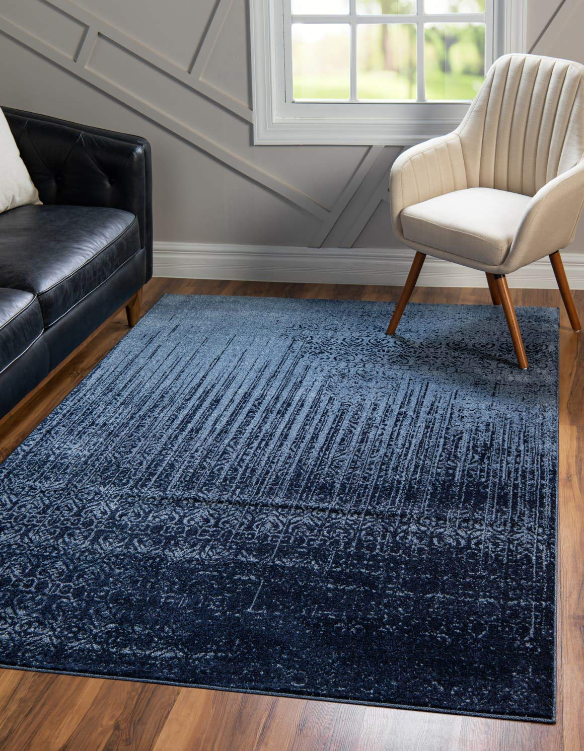 Unique Loom Del Mar Collection Contemporary Transitional Blue Area Rug 6 0 x 9 0