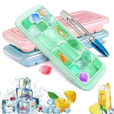 TedGem Eiswürfelform Silikon, 3 Stück Eiswürfelbehälter mit Deckel Eiswuerfel Form Eiswürfelformen 18-Fach BPA-frei and LFGB