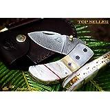 "++ DKC-43-PS Pearl Shell Thumb Damascus Steel Folding Pocket Knife 3.5"" Folded 6.25"" Open 7.5oz 2.25"" Blade High Class Looks Incredible Damascus Bolster DKC Knives"