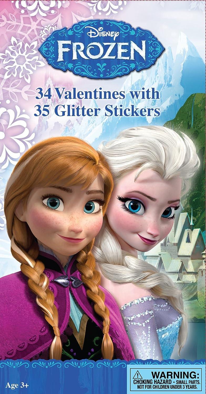 Paper Magic 34CT Deluxe Glitter Stickers Frozen Kids Classroom Valentine Exchange Cards