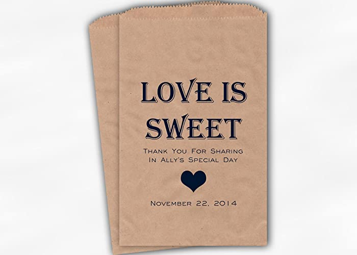 love is sweet bridal shower favor bags for candy buffet in navy blue personalized set