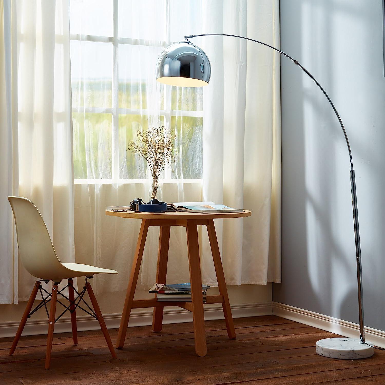 Lampadaire Arquer Arc Lampe De Sol Abat-jour Chrome Marbre Blanc VN-L00010-EU