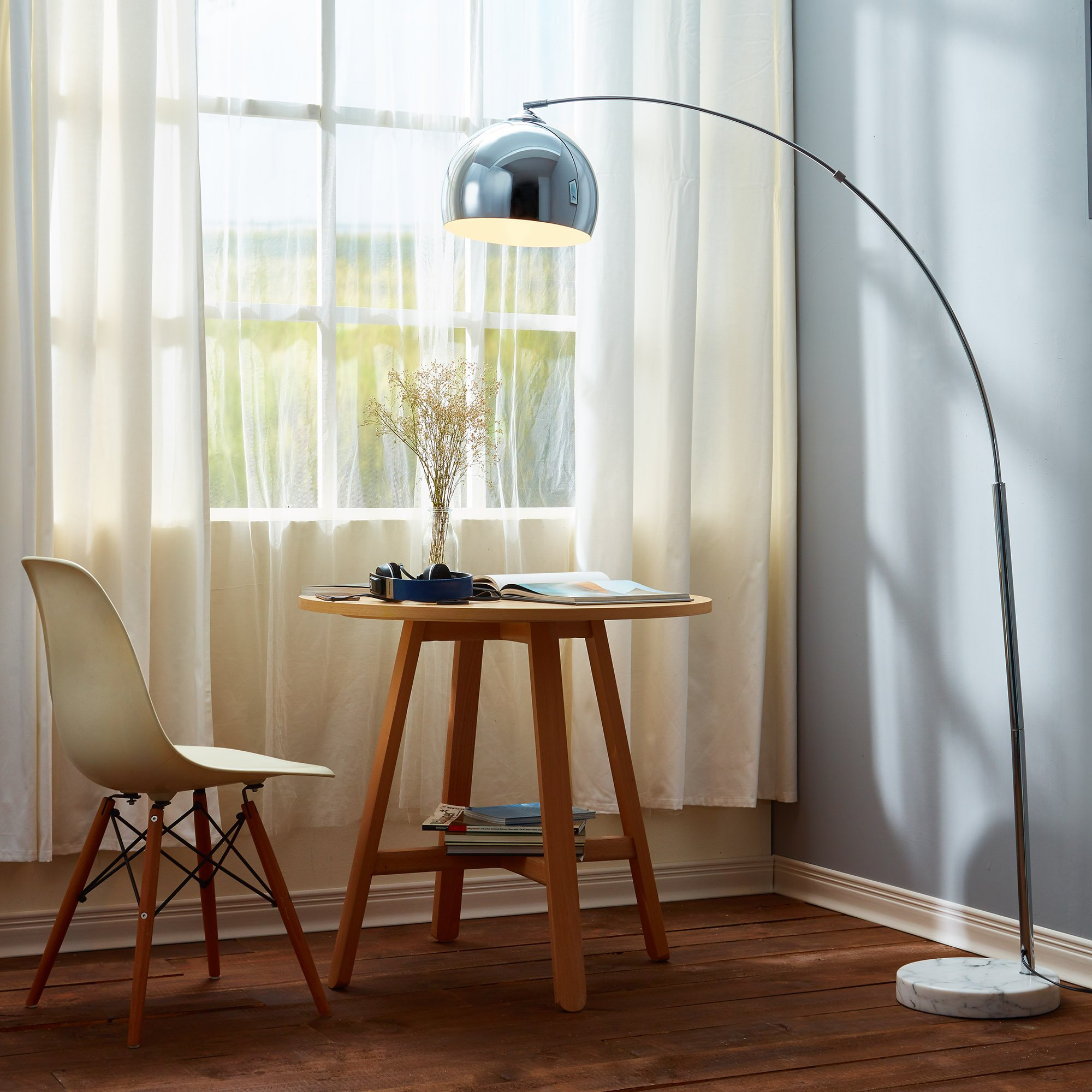 Versanora VN-L00010 Arquer Metal Arc 67'' Height Chrome Finished Shade and White Marble Base Floor Lamp by Versanora