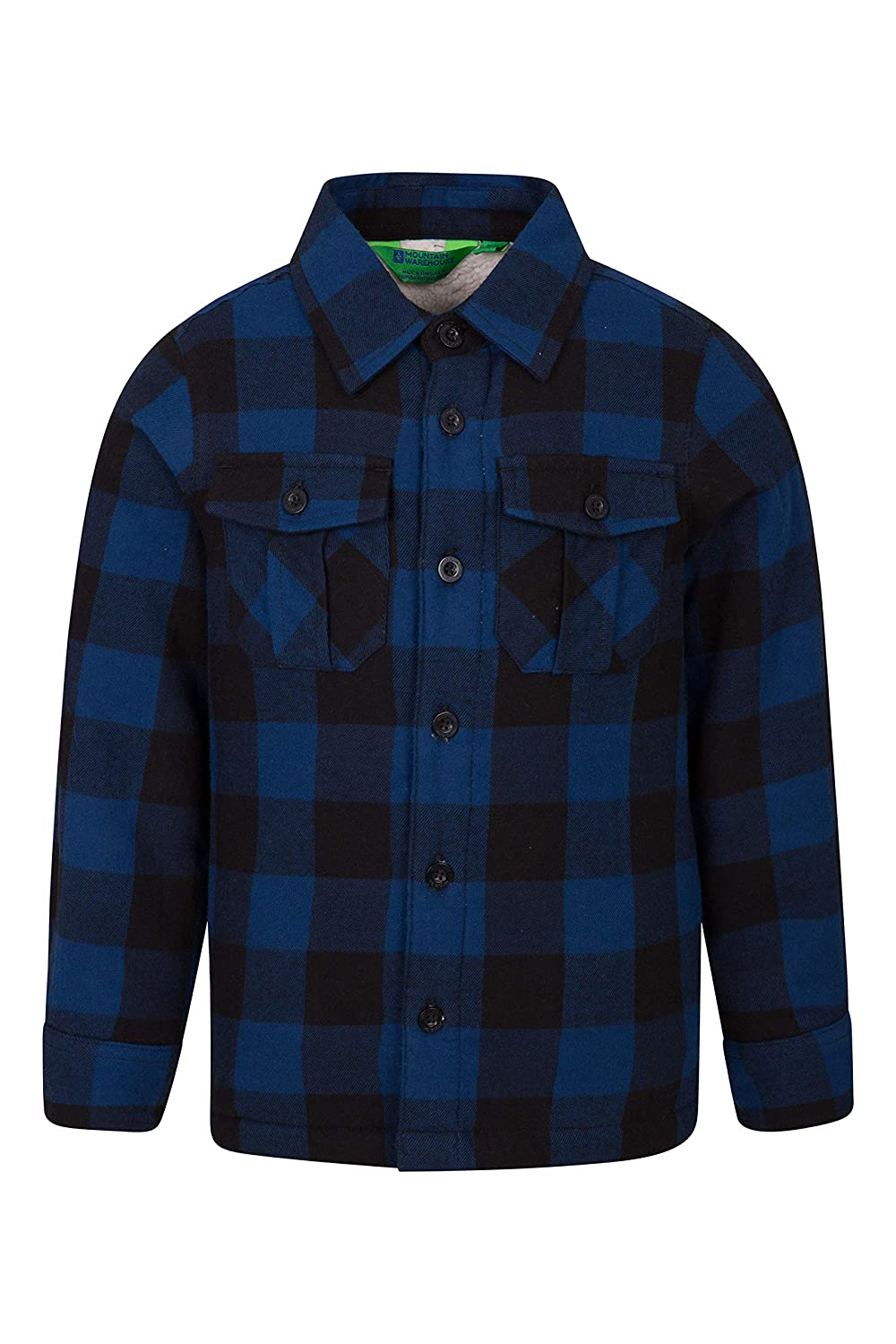 Mountain Warehouse Jackson Youth Shacket for Boy - Mix between Flannel Shirt and Jacket with Button Pockets & Trendy Plaid Pattern - 100% Cotton Outer & Soft Furry Inside Navy 5-6 years