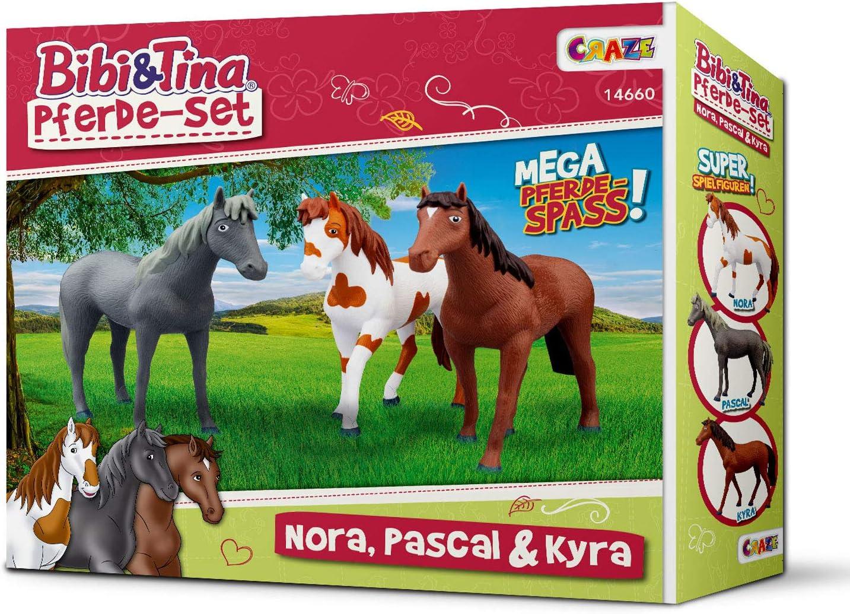 CRAZE- Bibi y Tina Bibi & Tina Figuras de Juguete Juego de 3 Caballos para coleccionar y Jugar a Nora Pascal Kyra 14660, Multicolor