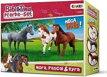 CRAZE BIBI /& TINA Spielfiguren Pferdeset 3er Set Pferde zum Sammeln und Spielen Nora Pascal Kyra 14660
