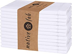 Native Fab Set of 12 Cloth Dinner Napkins Hemstitch 100% Cotton 18x18 Soft Comfortable Absorbent Restaurant Hotel Quality - Wedding Dinner Napkins Easy Care Washable - White