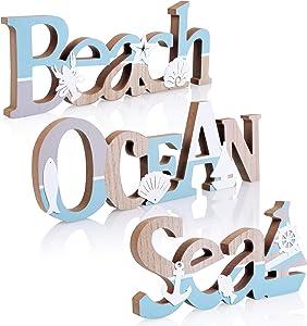 TideAndTales Coastal Decor Set of 3 Wooden Signs: Beach, Ocean and Sea | Beach Decor Accent for Beach House or Seaside Interiors | Nautical Theme Beach Decorations for Home | Beach Bathroom Decor