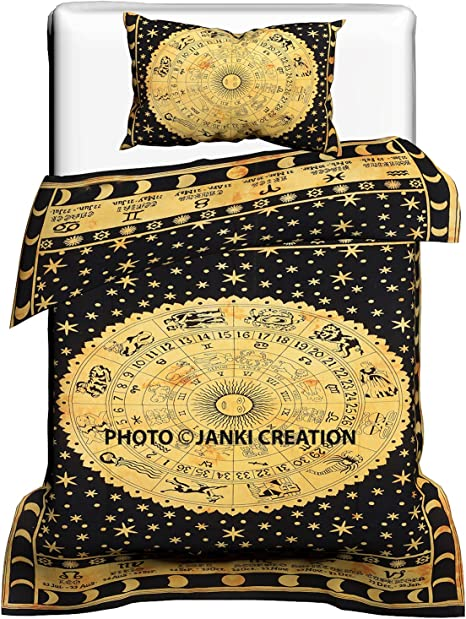 Yellow Zodiac Handmade Mandala Quilt Duvet Doona Cover Hippie Gypsy Bedding Set