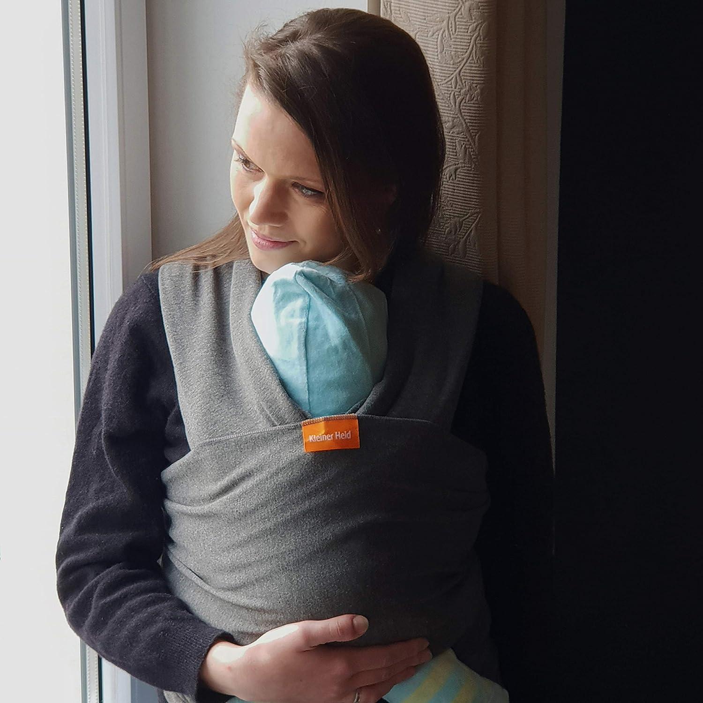 Kleiner Held Babytragetuch hochwertiges elastisches Tragetuch Babytrage f/ür Fr/üh Wickelanleitung und Aufbewahrungstasche und Neugeborene Babys ab Geburt bis 15 kg inkl Farbe hellgrau