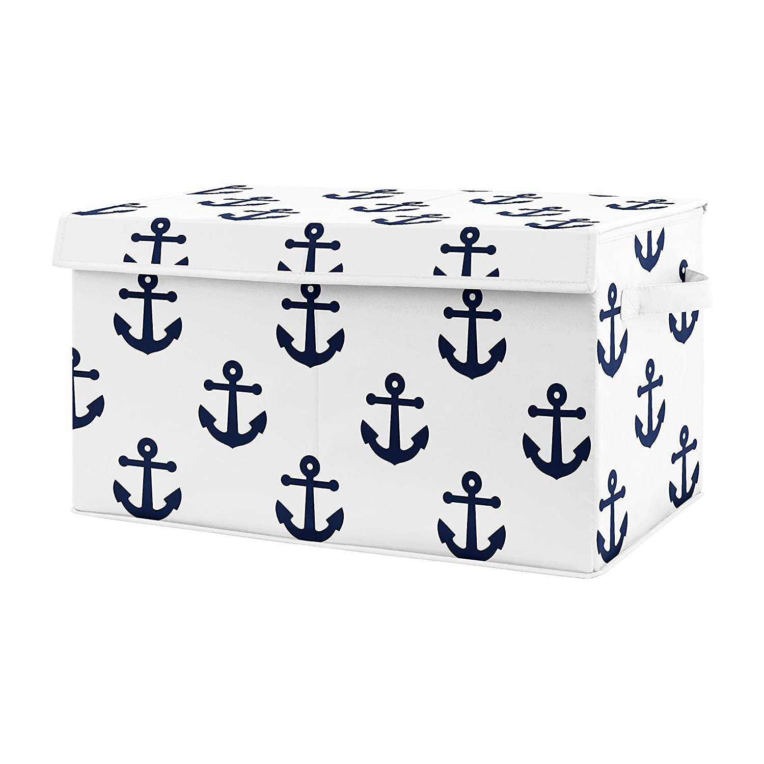 Sweet Jojo Designs Navy Blue White Anchors Boy Girl Small Fabric Toy Bin Storage Box Chest for Baby Nursery or Kids Room - Nautical Theme Ocean Sailboat Sea Marine Sailor Anchor Unisex Gender Neutral