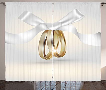 Boda cortinas por Ambesonne, Golden de color anillos de boda con cinta matrimonio icono realista
