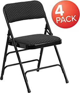 Flash Furniture 4 Pk. HERCULES Series Curved Triple Braced & Double Hinged Black Patterned Fabric Metal Folding Chair