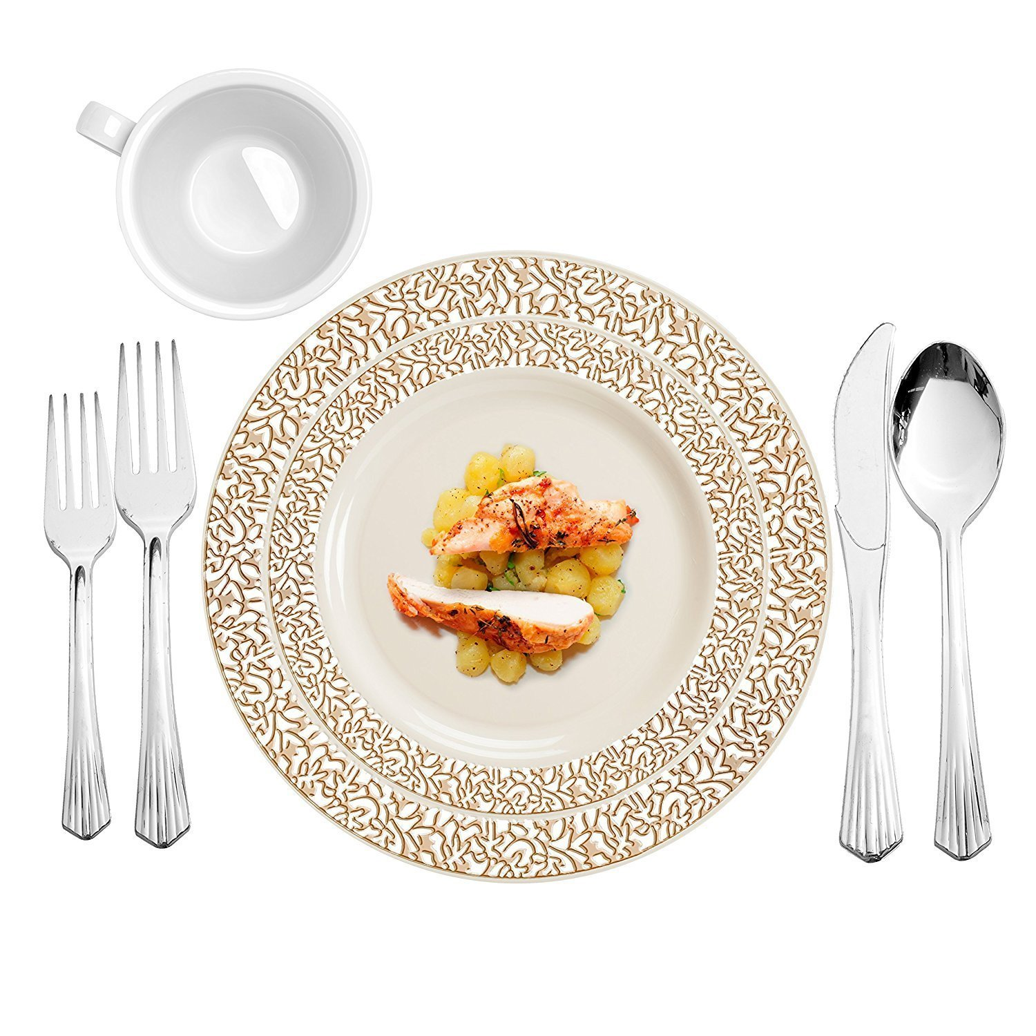 Party Bargains Ivory Gold 240 Round Plastic Plates & 480 Upscale Collection Cutlery | Lace Collection China Like Gold border Plate and Elegant Silverware - 720 Pcs | Combo Pack for 120 People