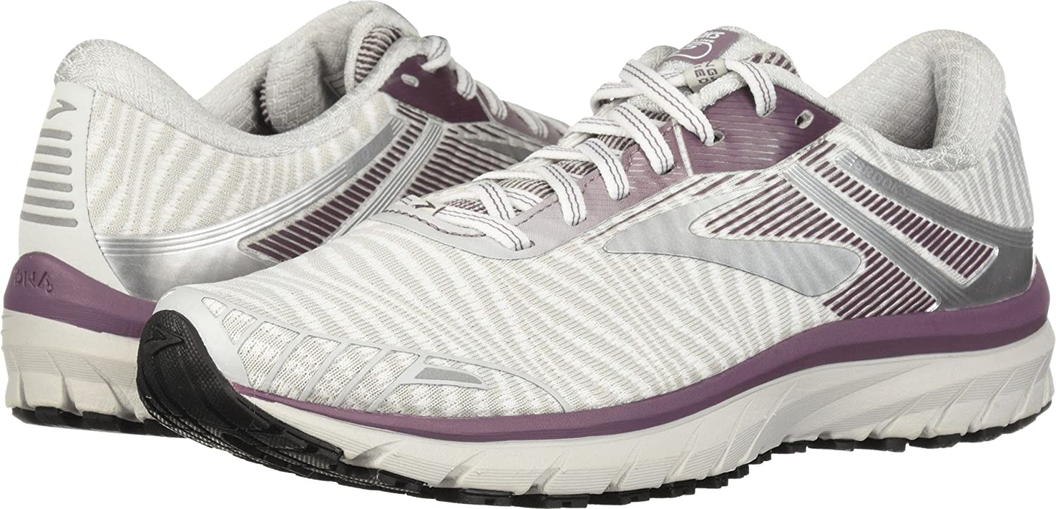 Brooks Women s Adrenaline GTS 18 White Purple Grey 8 B US B M