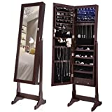 Amazon Price History for:SONGMICS 6 LEDs Jewelry Cabinet Lockable Standing Jewelry Armoire Organizer with Mirror 2 Drawers Brown UJJC94K