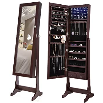 SONGMICS 6 Leds Jewelry Cabinet Large Mirrored Armoire Organizer With 2  Drawers, Brown, Sturdy