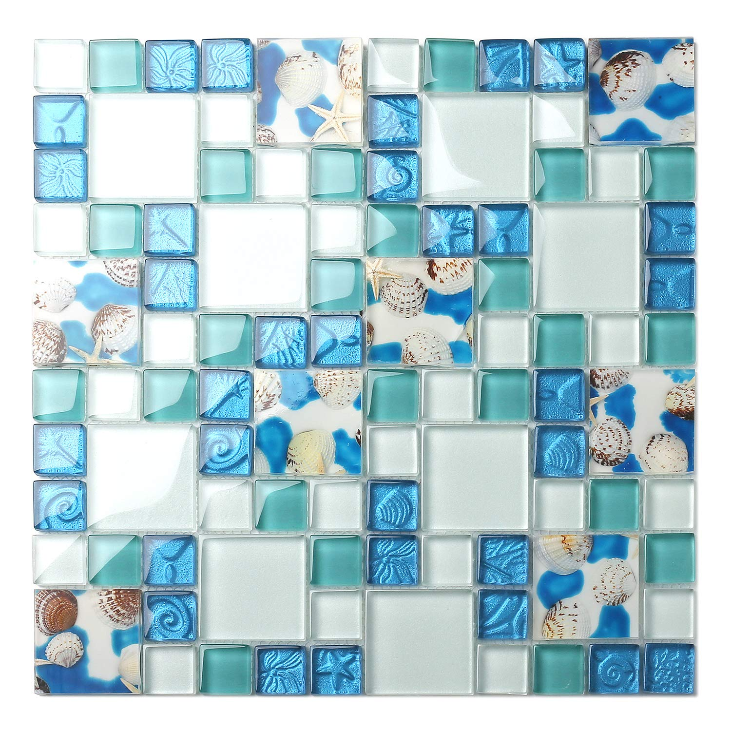 TST Mosaic Tiles Glass Conch Tiles Beach Style Sea Blue Glass Tile Glass Mosaics Wall Art Kitchen Backsplash Bathroom Design TSTGT370 (5 Square Feet) by BLUJELLYFISH