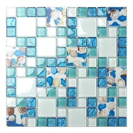 Awe Inspiring Tst Mosaic Tiles Glass Conch Tiles Beach Style Sea Blue Glass Tile Glass Mosaics Wall Art Kitchen Backsplash Bathroom Design Tstgt370 10 Square Feet Home Interior And Landscaping Synyenasavecom