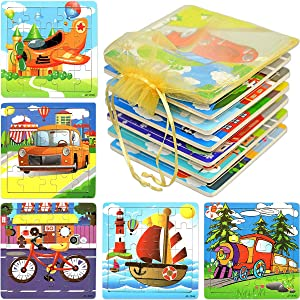 """Wooden Jigsaw Puzzles for Toddlers 2-4 Years Old, Popular Bulk Party Favors Among Children, 12-Pack with Individual Storage Tray & Organza Bag, 5 3/4"""" x 5 3/4"""" Per Pack"""