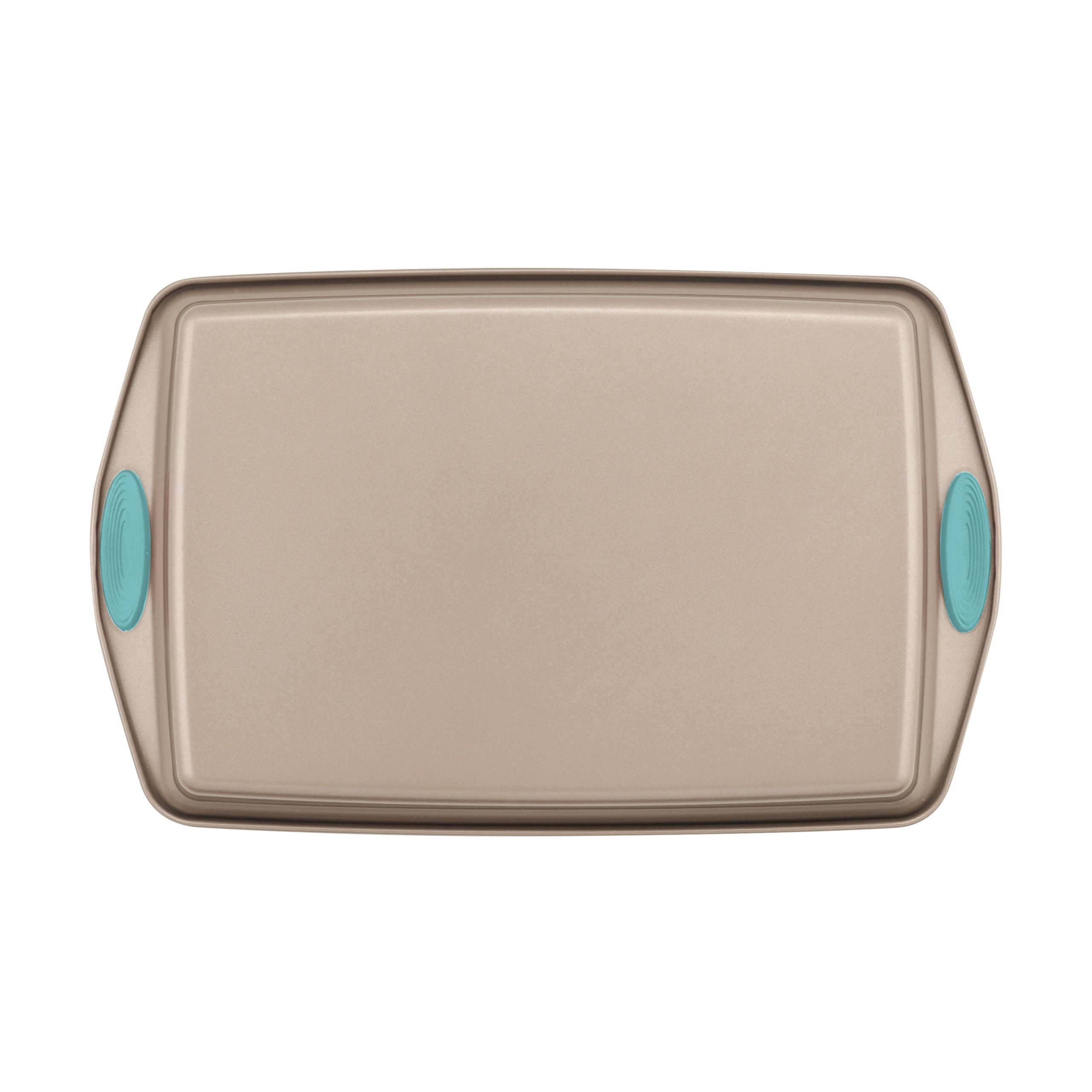Rachael Ray Nonstick Bakeware 5-Piece Set, Latte Brown with Agave Blue Handle Grips by Rachael Ray (Image #3)