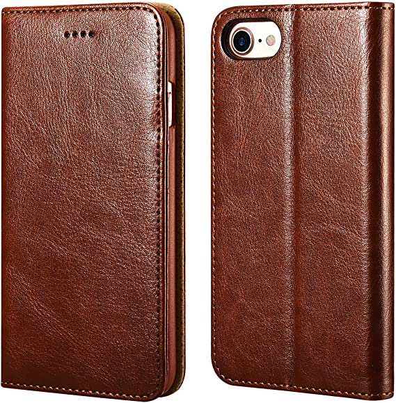Amazon Com Iphone 7 8 Wallet Case Icarercase Iphone Se Case 2nd Generation Premium Pu Leather Folio Flip Cover With Kickstand And Credit Slots For Apple Iphone 7 8 Se 4 7 Inch Brown Electronics