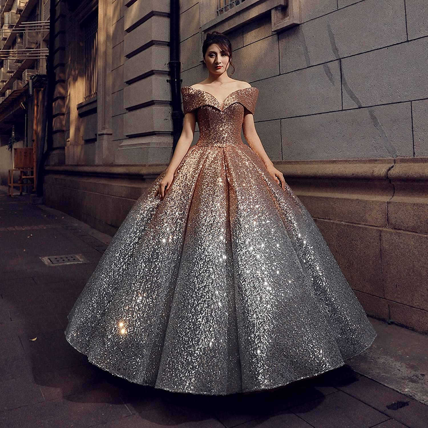 Erosebridal Sparkling Sequined Evening Dresses Gowns V Neck Cap Sleeves Ball Gown Party Dress US 14 Gold: Amazon.co.uk: Clothing