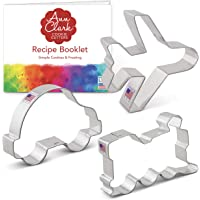 Transportation Cookie Cutter Set with Recipe Booklet - 3 Piece - Airplane, Train Engine, and Car - Ann Clark Cookie…