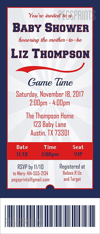 Amazon.com: Sports Ticket Baby Shower Invitation - Sports Baby ...