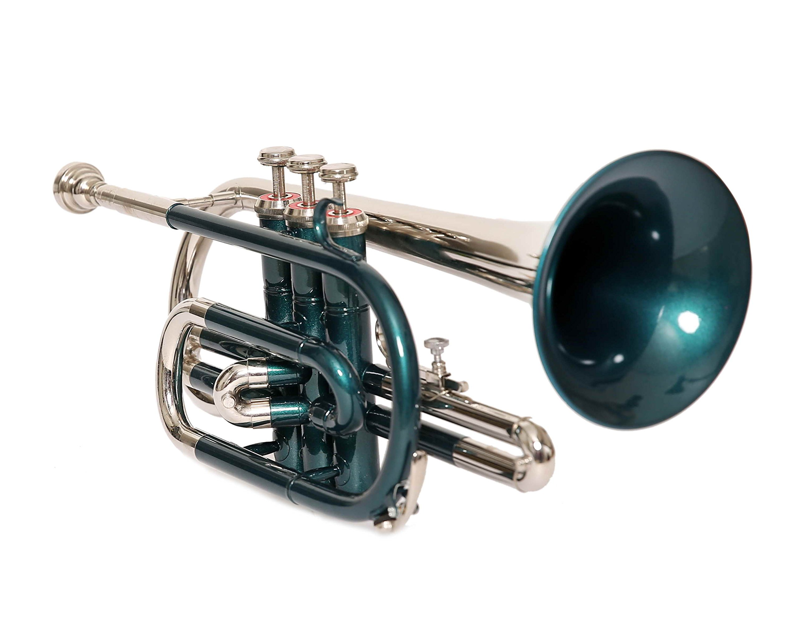 eMusicals Cornet Bb Pitch With Free Hard Case And Mouthpiece, Green Color+Nickel