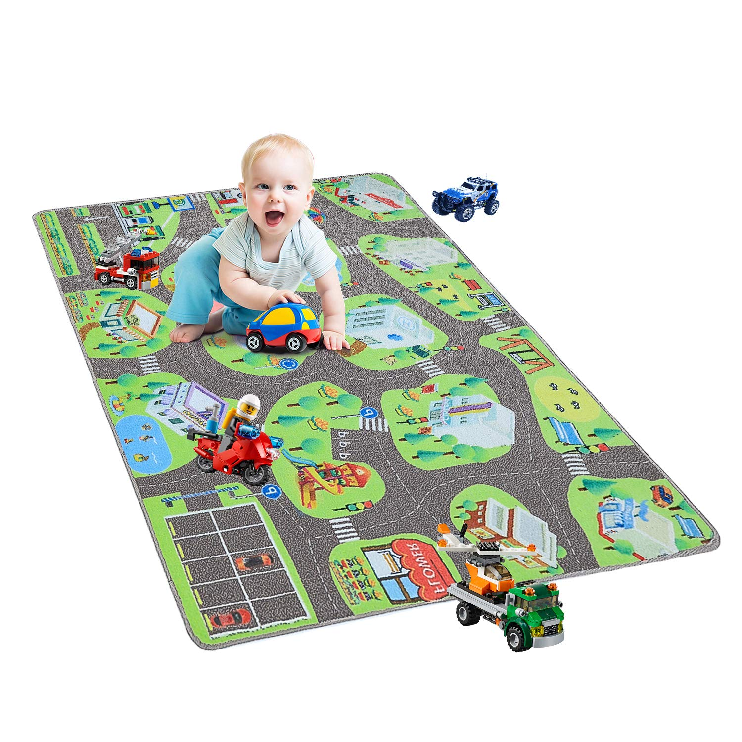 YJ.GWL Kids Carpet Play Mat Rug City Life Great for Playing with Cars and Toys to Learn and Have Fun Safely Children Educational Road Traffic Area Rugs for Bedroom Play Room and Nursery 36'' x 60''