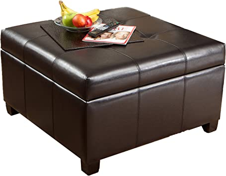 Amazon Com Best Selling Storage Ottoman Coffee Table Square Shaped Premium Bonded Leather In Espresso Brown Furniture Decor