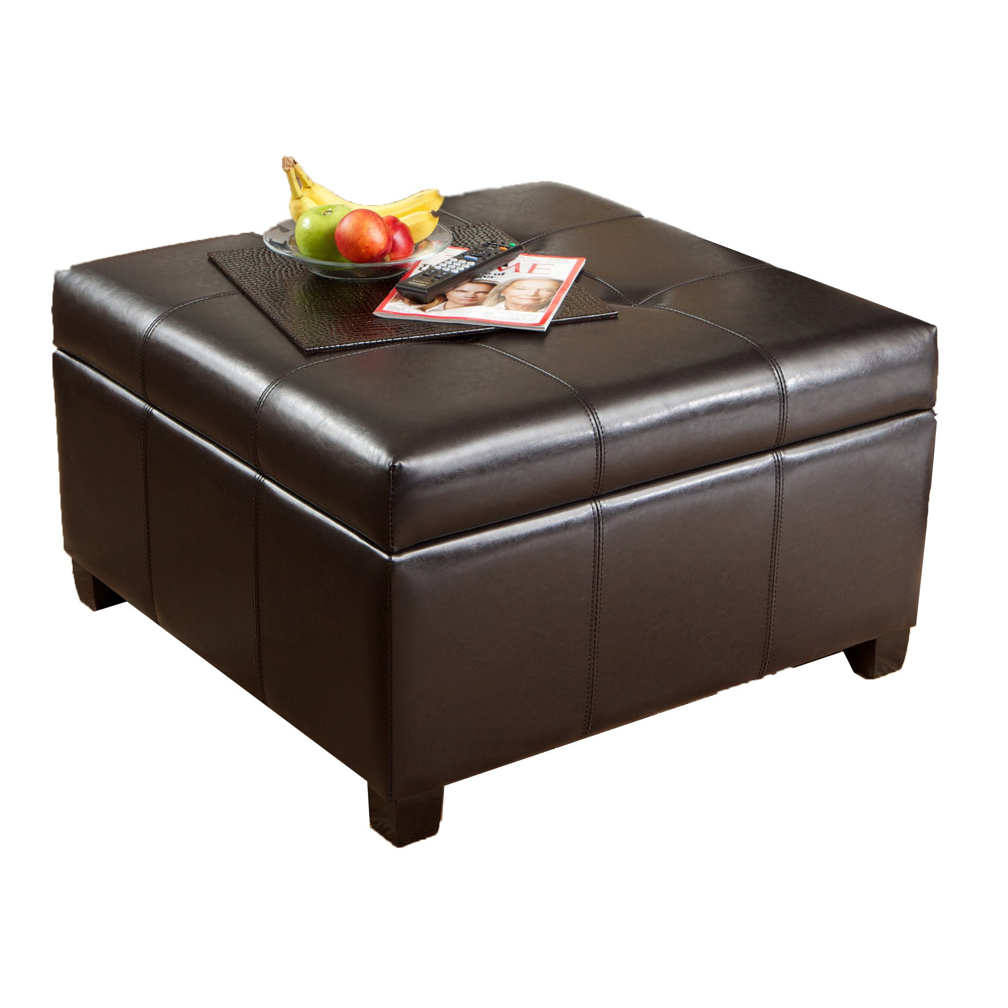 Best Selling | Storage Ottoman | Coffee Table | Square Shaped | Premium Bonded Leather in Espresso Brown by Best Selling