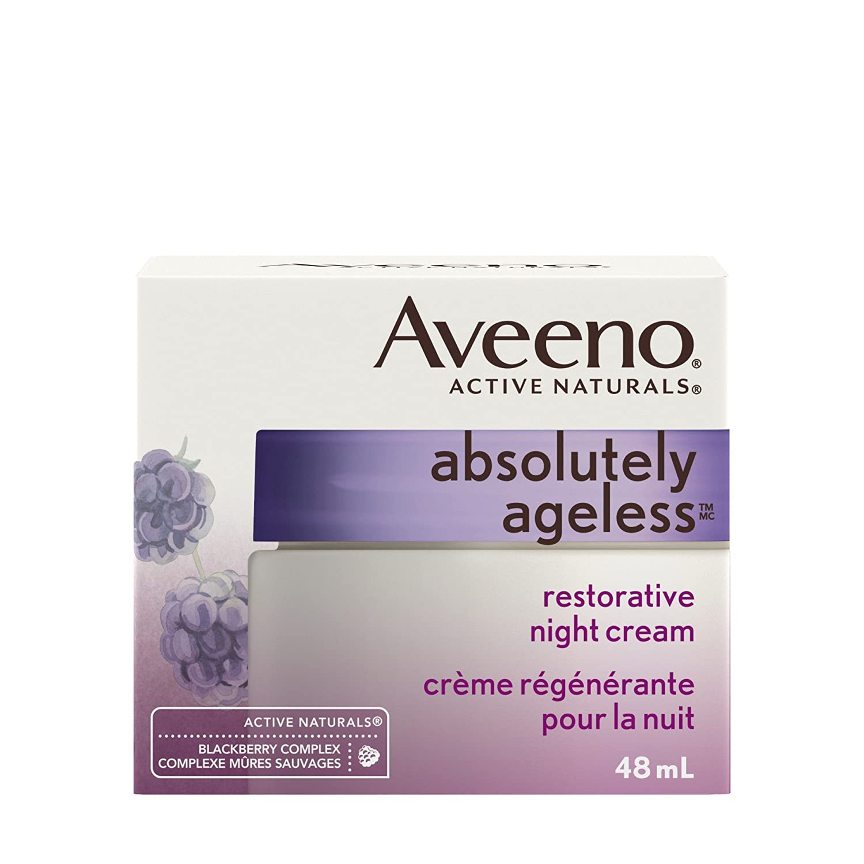 Aveeno Anti Aging Night Cream, Absolutely Ageless Restorative Face Moisturizer, 48 mL Johnson and Johnson CA